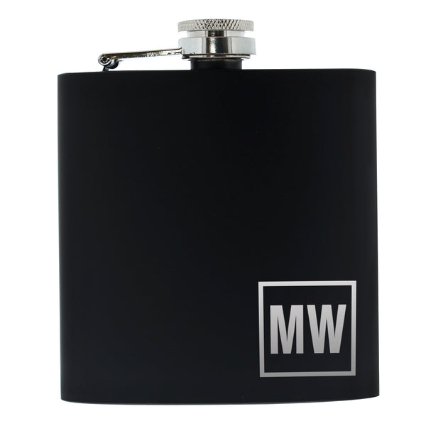 Personalised Initials Black Hip Flask white background