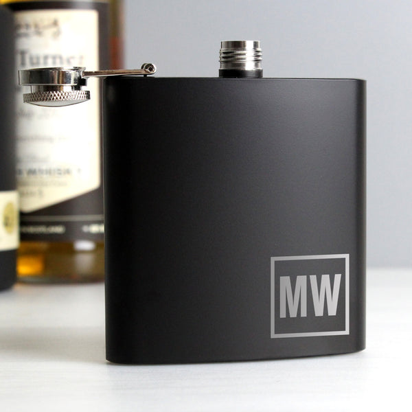 Personalised Initials Black Hip Flask from Sassy Bloom Gifts - alternative view