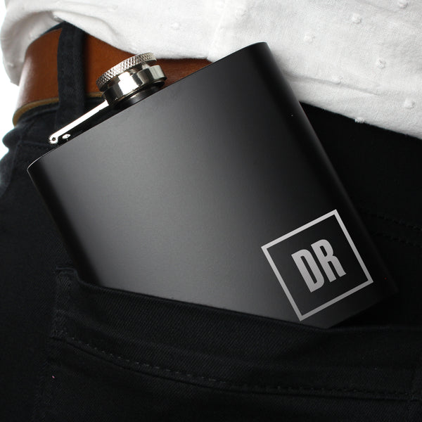 Personalised Initials Black Hip Flask lifestyle image
