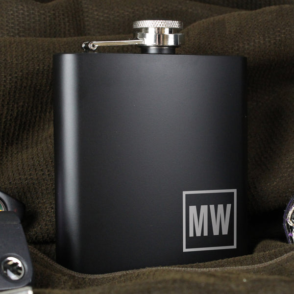 Personalised Initials Black Hip Flask with personalised name