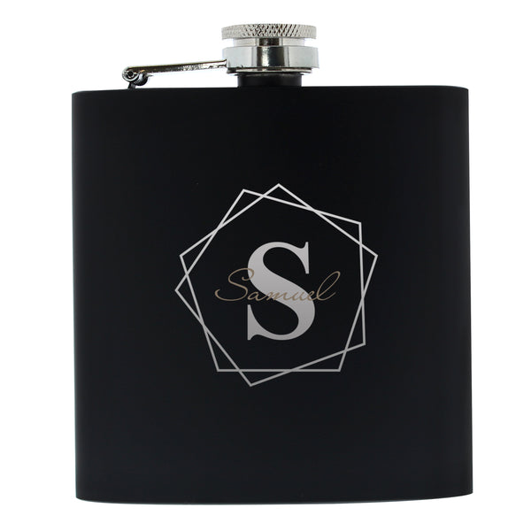 Personalised Geometric Initial Black Hip Flask white background