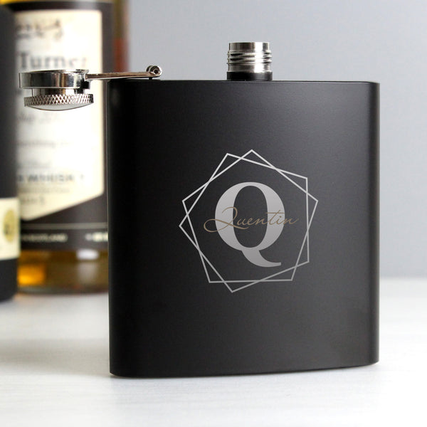 Personalised Geometric Initial Black Hip Flask from Sassy Bloom Gifts - alternative view