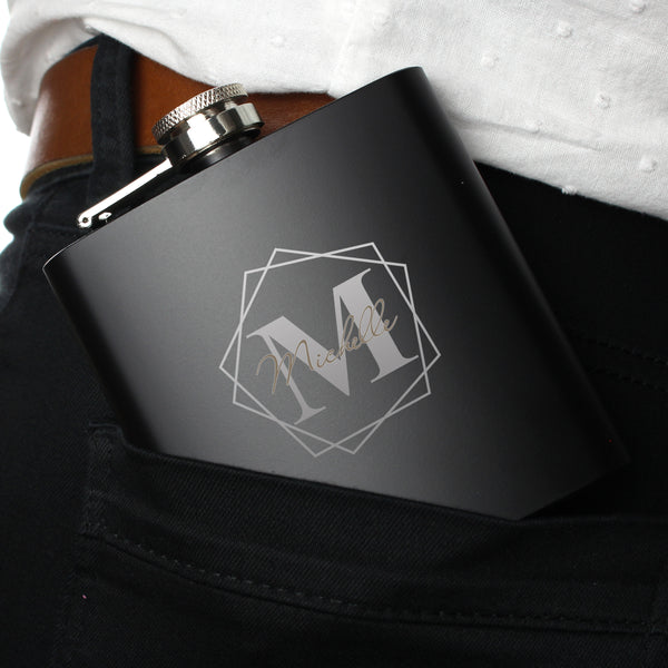 Personalised Geometric Initial Black Hip Flask lifestyle image
