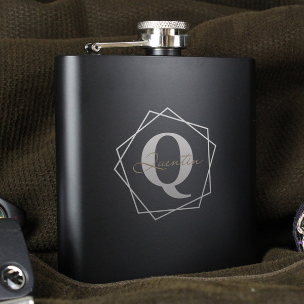 Personalised Geometric Initial Black Hip Flask with personalised name