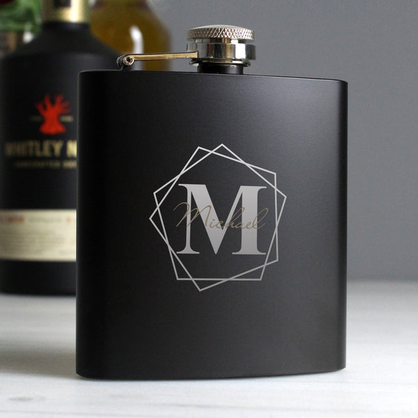 Personalised Geometric Initial Black Hip Flask