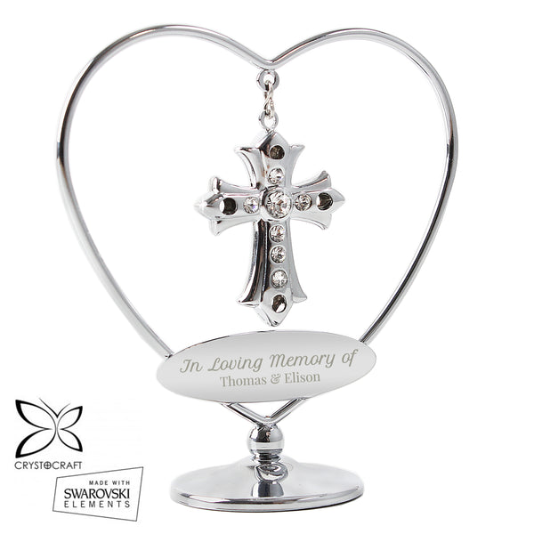 Personalised In Loving Memory Crystocraft Cross white background