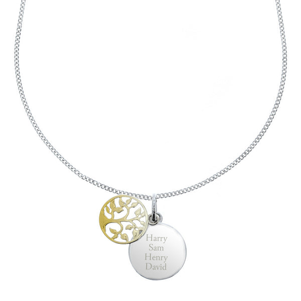 Personalised Sterling Silver & 9ct Gold Family Tree Necklace white background