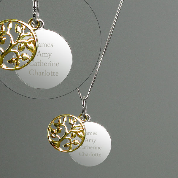 Personalised Sterling Silver & 9ct Gold Family Tree Necklace from Sassy Bloom Gifts - alternative view