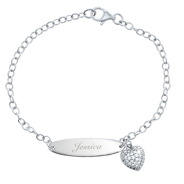 Personalised Children's Sterling Silver and Cubic Zirconia Bracelet white background