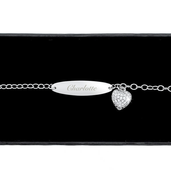Personalised Children's Sterling Silver and Cubic Zirconia Bracelet from Sassy Bloom Gifts - alternative view