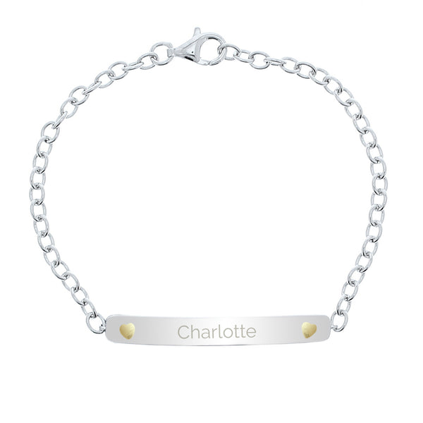 Personalised Sterling Silver and 9ct Gold Bar Bracelet white background