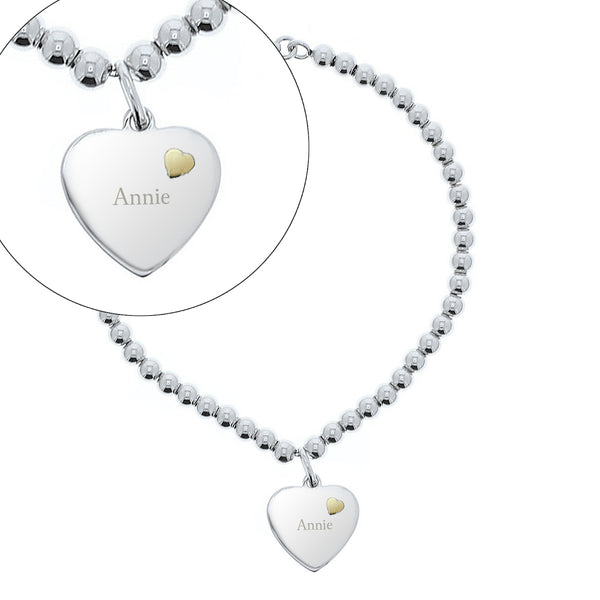 Personalised Sterling Silver and 9ct Gold Heart Bracelet white background