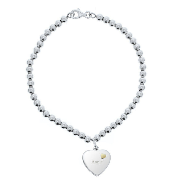 Personalised Sterling Silver and 9ct Gold Heart Bracelet from Sassy Bloom Gifts - alternative view