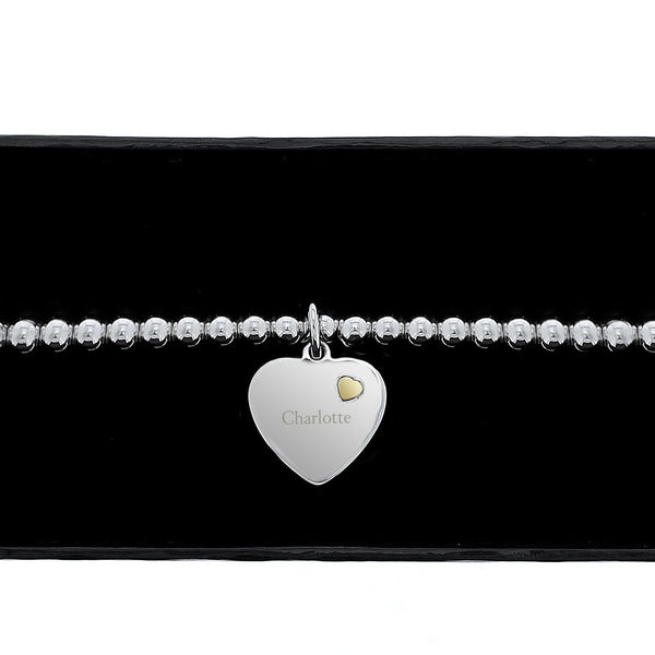 Personalised Sterling Silver and 9ct Gold Heart Bracelet lifestyle image