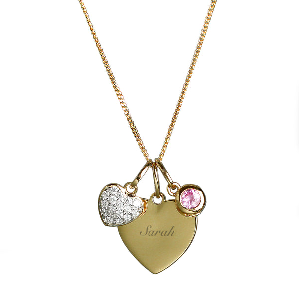 Personalised Sterling Silver & 9ct Gold Heart Necklace white background