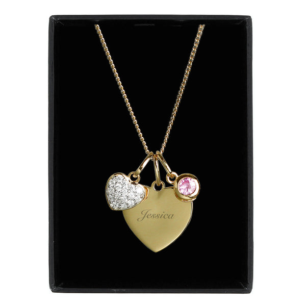 Personalised Sterling Silver & 9ct Gold Heart Necklace from Sassy Bloom Gifts - alternative view