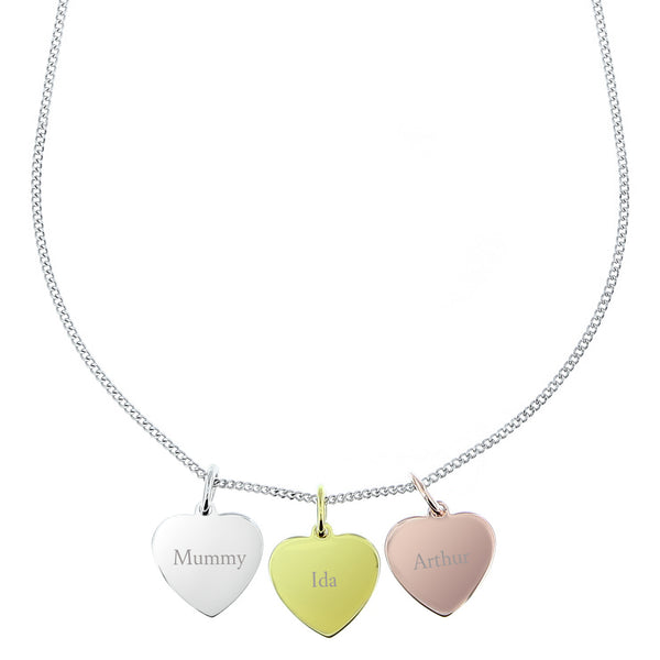 Personalised Gold, Rose Gold and Silver 3 Hearts Necklace white background