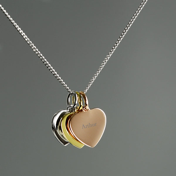 Personalised Gold, Rose Gold and Silver 3 Hearts Necklace lifestyle image