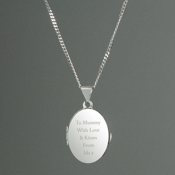 Personalised Sterling Silver Oval Locket Necklace white background