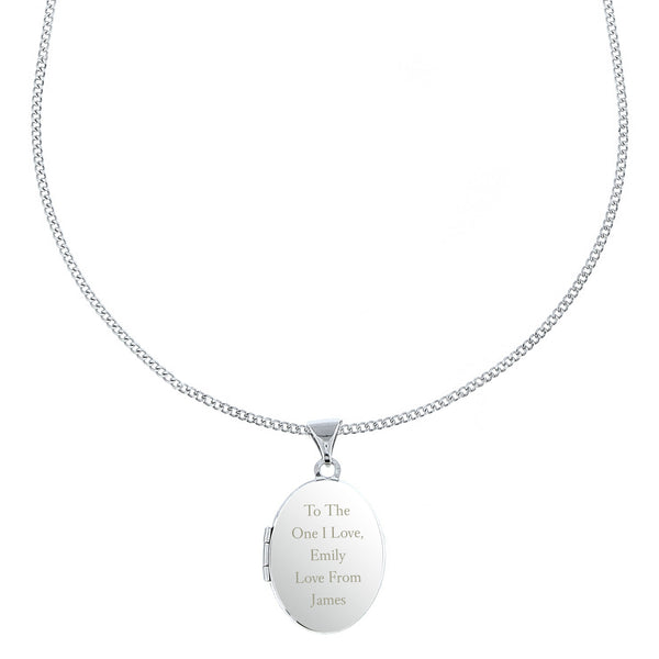 Personalised Sterling Silver Oval Locket Necklace lifestyle image