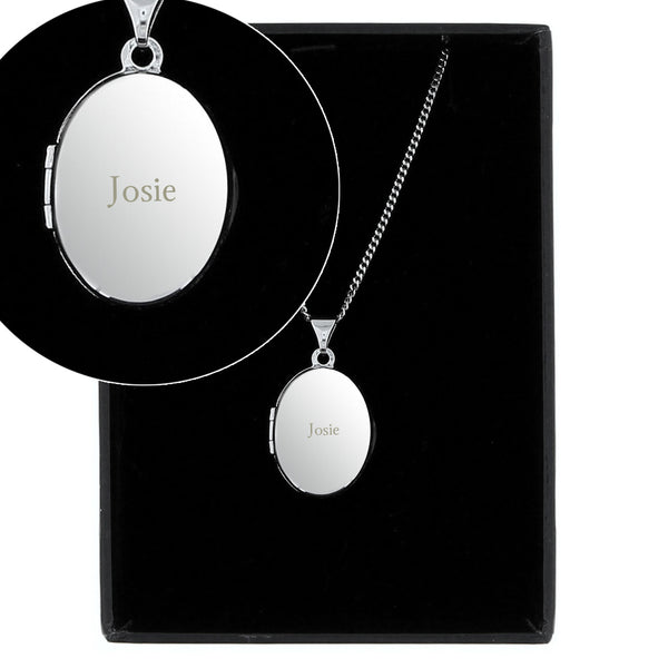 Personalised Sterling Silver Oval Locket Necklace from Sassy Bloom Gifts - alternative view