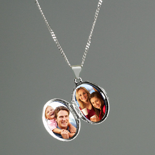Personalised Sterling Silver Oval Locket Necklace with personalised name
