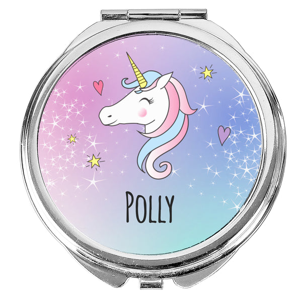 Personalised Unicorn Compact Mirror white background