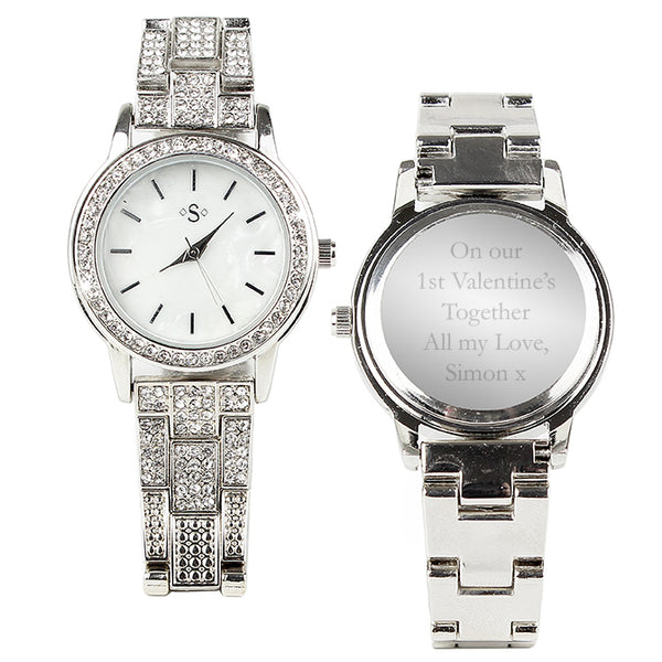 Personalised Diamante Ladies Watch white background