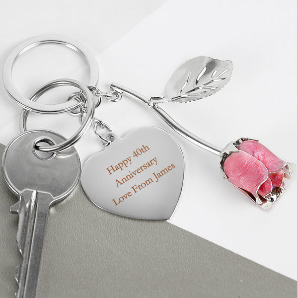 Personalised Silver Plated Pink Rose Keyring from Sassy Bloom Gifts - alternative view