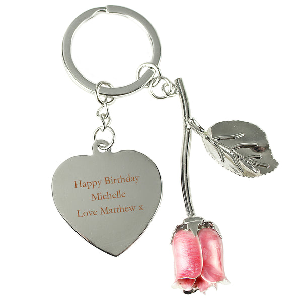 Personalised Silver Plated Pink Rose Keyring with personalised name