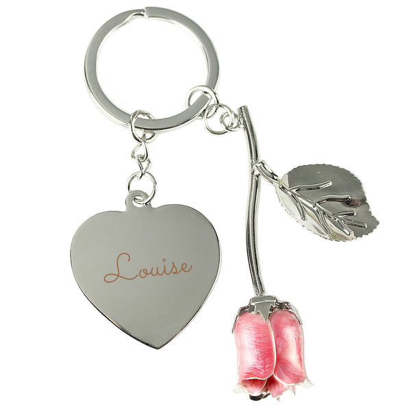 Personalised Silver Plated Name Pink Rose Keyring white background