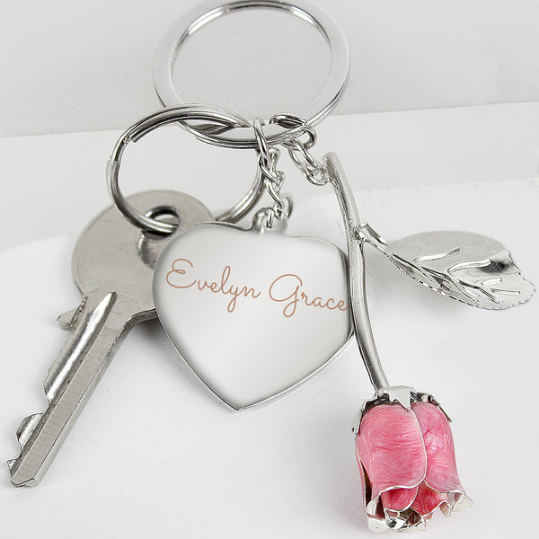 Personalised Silver Plated Name Pink Rose Keyring from Sassy Bloom Gifts - alternative view