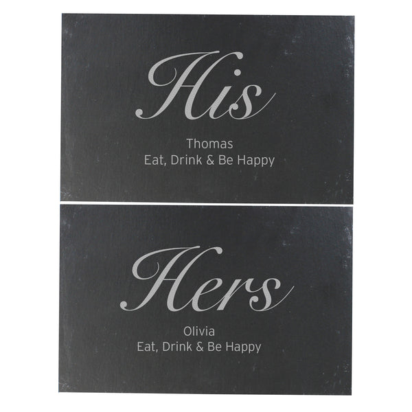 Personalised His and Hers Slate Placemat Set white background