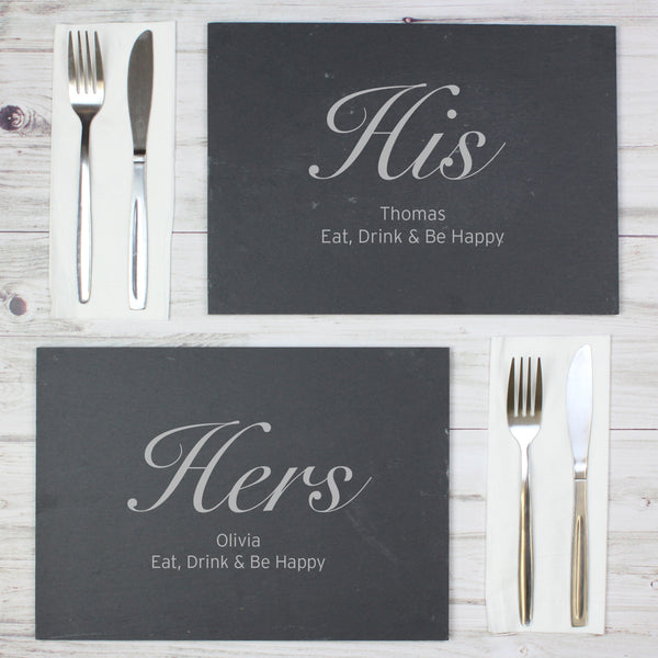 Personalised His and Hers Slate Placemat Set from Sassy Bloom Gifts - alternative view