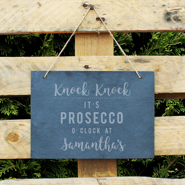 Personalised Prosecco O'Clock Large Hanging Slate Sign from Sassy Bloom Gifts - alternative view