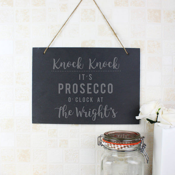 Personalised Prosecco O'Clock Large Hanging Slate Sign lifestyle image