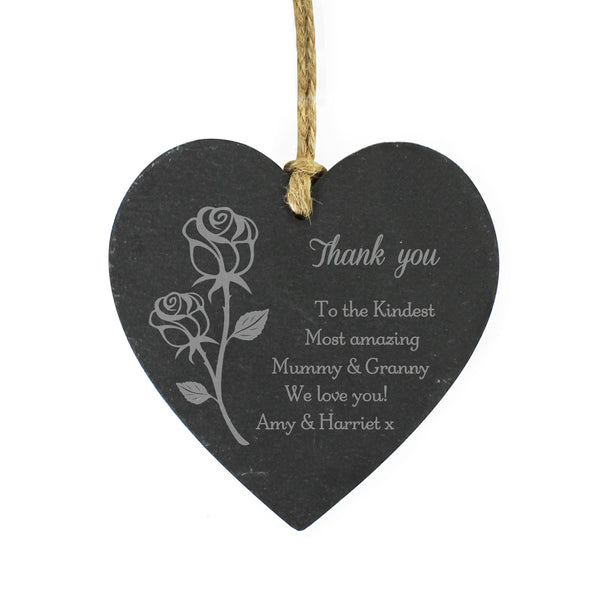 Personalised Rose Small Slate Heart Decoration white background