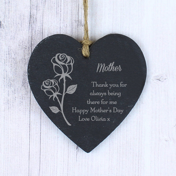 Personalised Rose Small Slate Heart Decoration