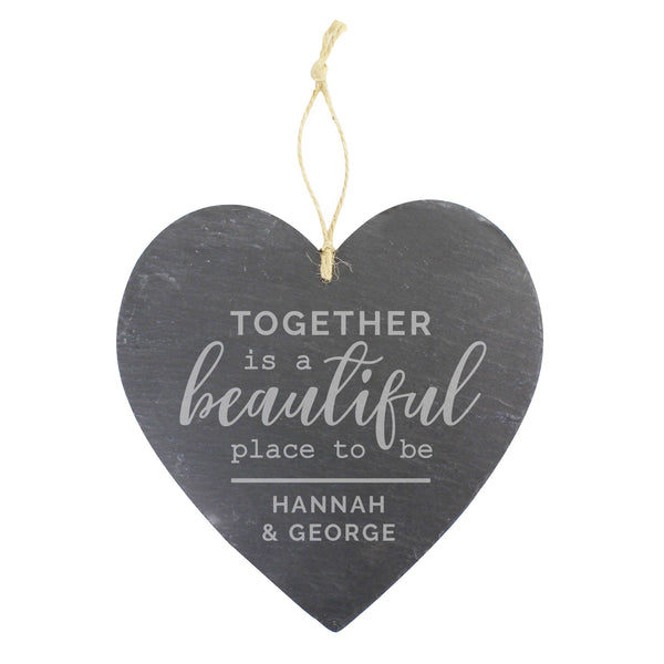 Personalised Together Large Slate Heart Decoration white background