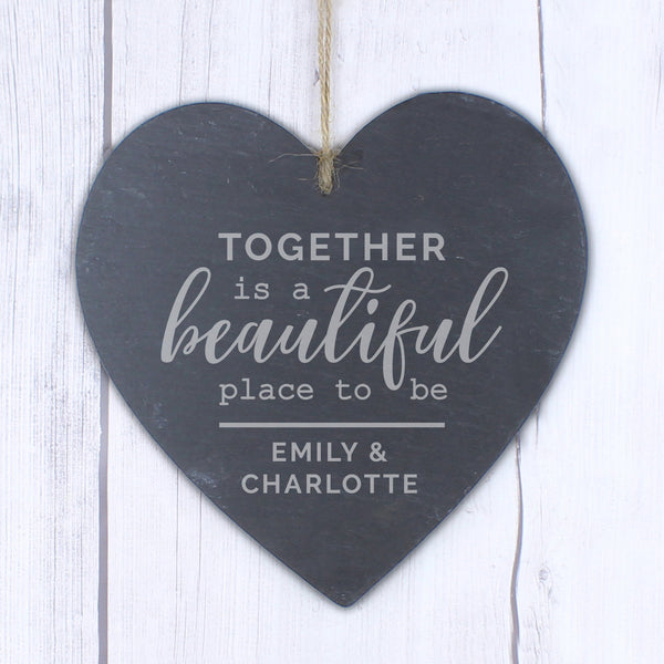 Personalised Together Large Slate Heart Decoration lifestyle image