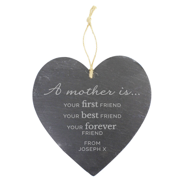 Personalised 'A Mother Is' Large Slate Heart Decoration white background