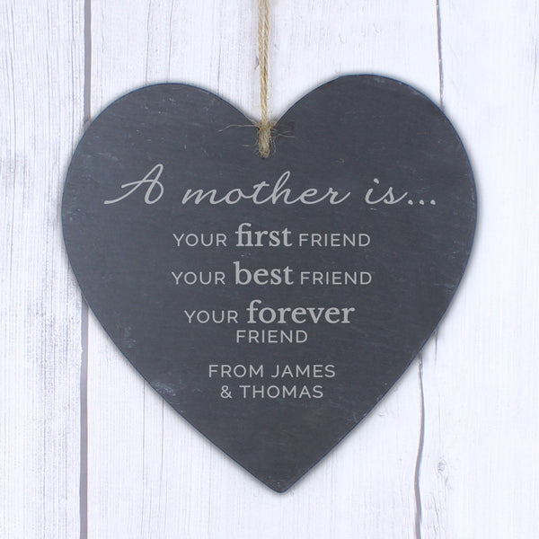 Personalised 'A Mother Is' Large Slate Heart Decoration from Sassy Bloom Gifts - alternative view