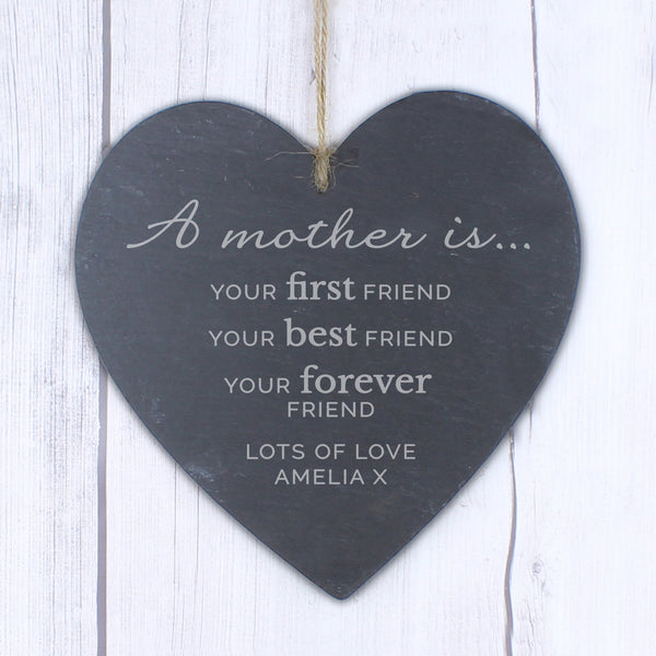 Personalised 'A Mother Is' Large Slate Heart Decoration lifestyle image