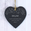 Personalised Floral Small Slate Heart Decoration