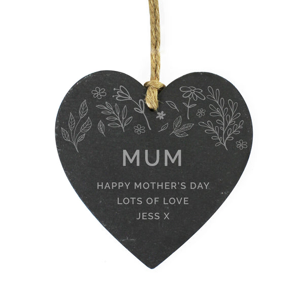 Personalised Floral Small Slate Heart Decoration white background