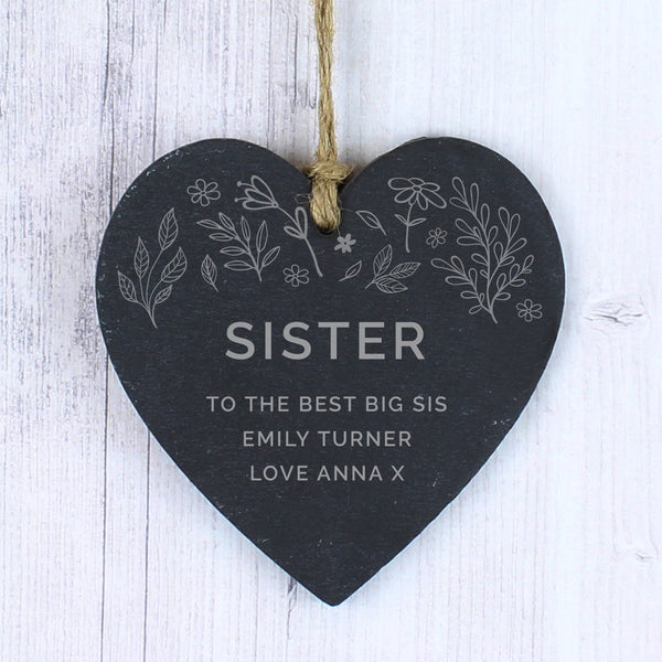 Personalised Floral Small Slate Heart Decoration with personalised name