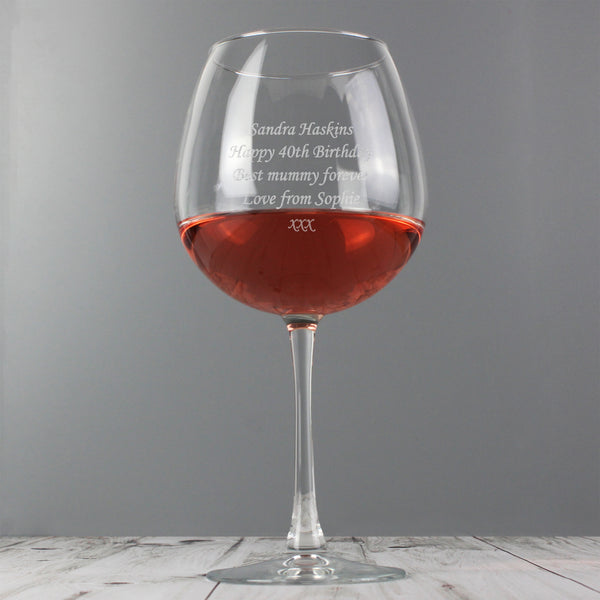 Personalised Bottle of Wine Glass from Sassy Bloom Gifts - alternative view