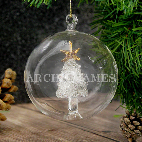 Personalised Name Only Christmas Tree Glass Bauble from Sassy Bloom Gifts - alternative view
