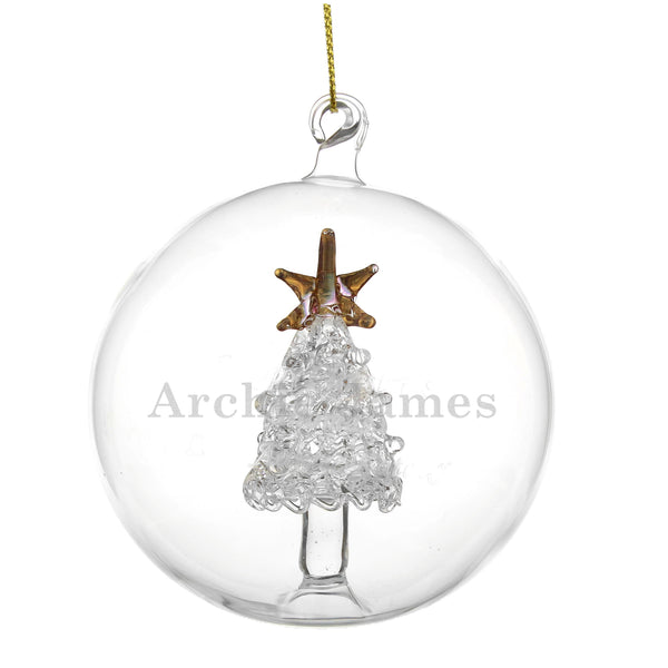 Personalised Name Only Christmas Tree Glass Bauble lifestyle image