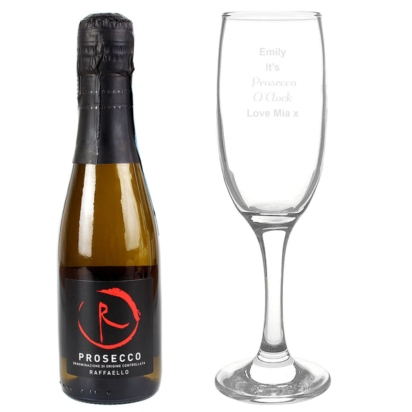 Personalised Prosecco Flute & Mini Prosecco Set white background
